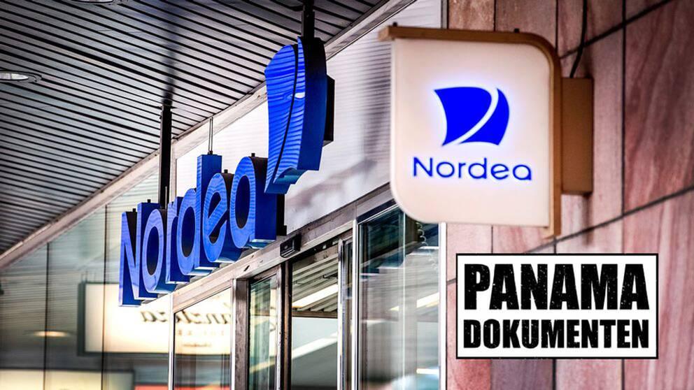En neonskylt med texten Nordea