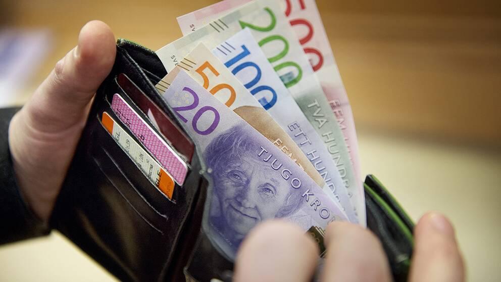 En plånbok med pengar.