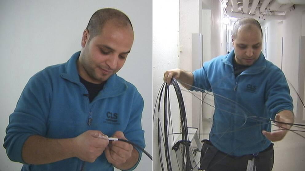 Muhammed Raed Saad kom till Sverige för ett år och sju månader sedan. I dag jobbar han med att dra kabel, med en lön delvis subventionerad av staten.