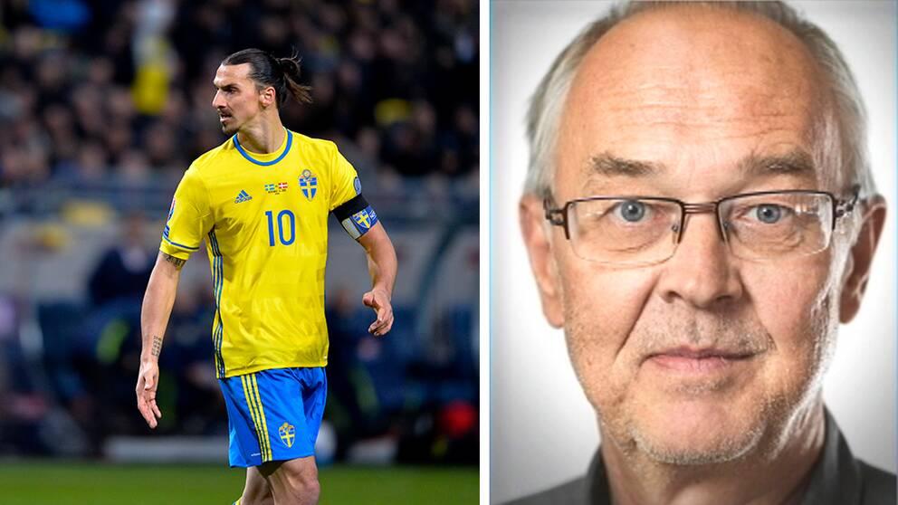 Zlatan Ibrahimovic iklädd landslagskläder. Nils Funcke.