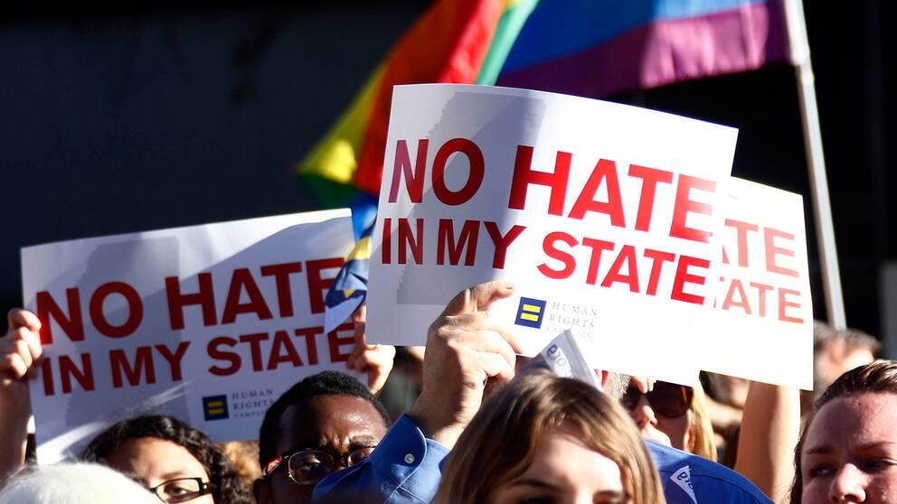Protester mot den nya lagen i Mississippi.