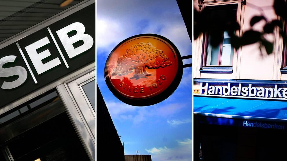 En bild på en SEB-skylt, en Swedbank-skylt och en Handelsbanken-skylt.