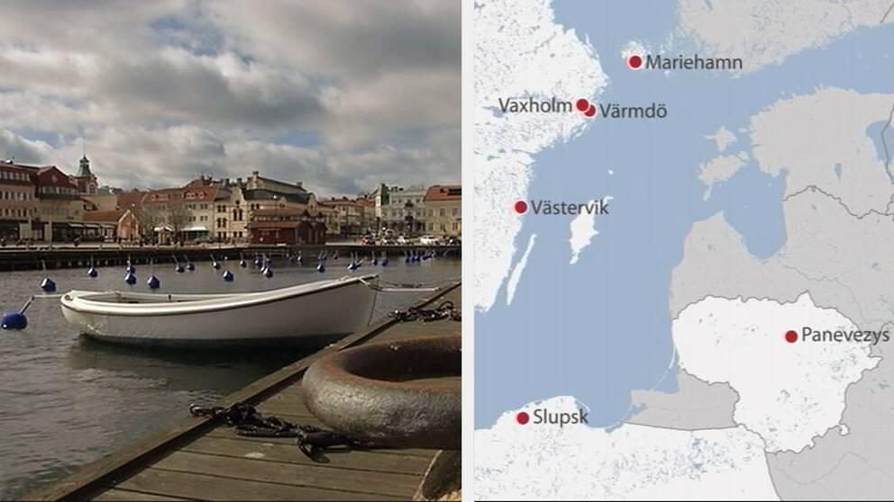 Bild över Västerviks hamn och karta över Östersjön