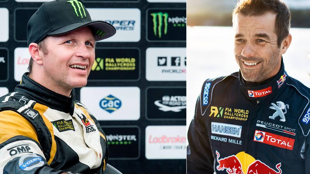 Regerande mästaren Petter Solberg (t.v.) utmanas i år av rallystjärnan Loeb (t.h.).