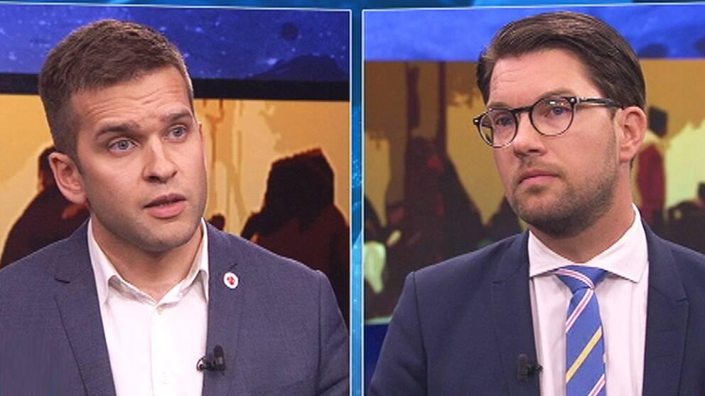 Sverigedemokraternas partiledare Jimmie Åkesson och sjukvårdsminister Gabriel Wikström (S) debatterade i Aktuellt efter att SD lagt fram ett förslag om att begränsa välfärden för flyktingar.