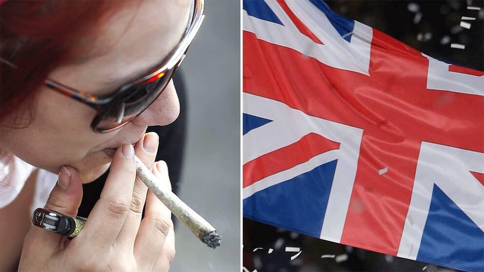 Kvinna röker cannabis. Storbritanniens flagga.