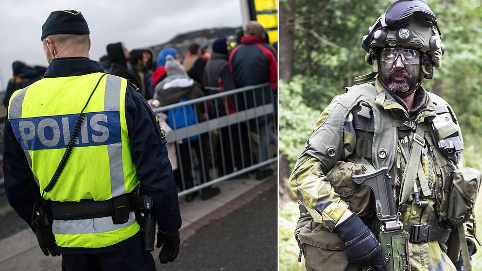 Polis vid gränsskontroll och en kamoflagesminkad soldat.