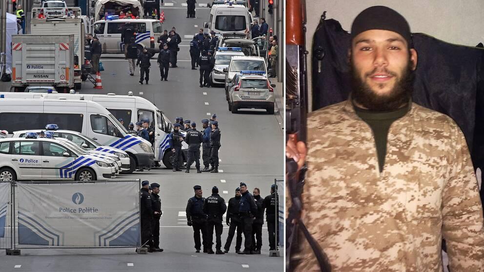Poliser vid tunnelbanestationen Maelbeek efter terrordådet och en bild på svenske Osama Krayem