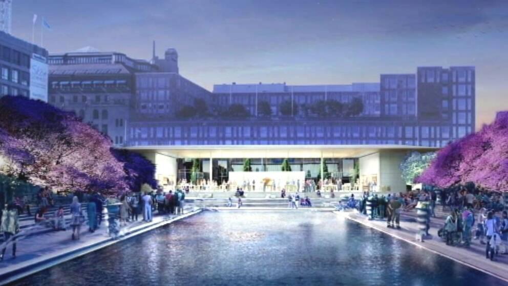 Illustration av den föreslagna Apple-butiken i Kungsträdgården.