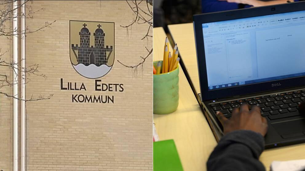 Lilla Edets kommunhus och en elev vid en dator