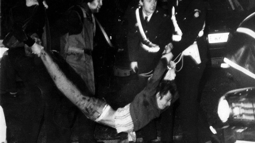 Polisingripande i samband med ockupationen av Västtyska ambassaden i Stockholm 1975.