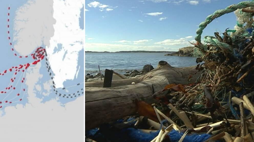 Se hur skräpet i haven strömmar in i norra Bohuslän.