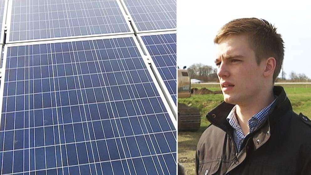 Solceller. Per Skyggesson, ordförande i LRF Ungdomen Halland