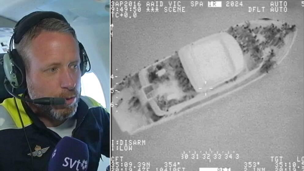 Svenska kustbevakningens flygplan upptäckte 351 personer på en båt i östra Medelhavet.