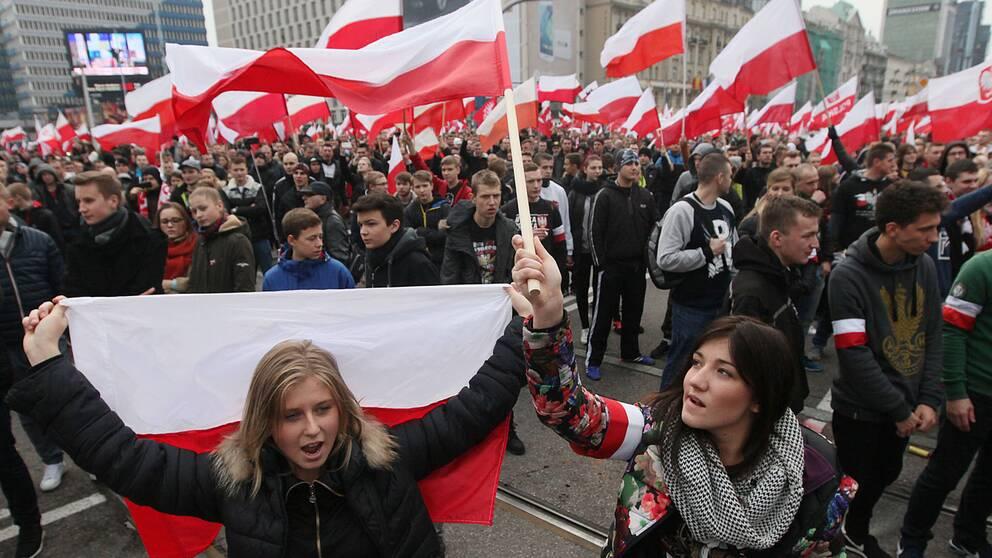 """Polens självständighetsmarsch 2015 gick under parollen """"Polen åt polackerna"""" och arrangerades av flera högerextrema organisationer."""