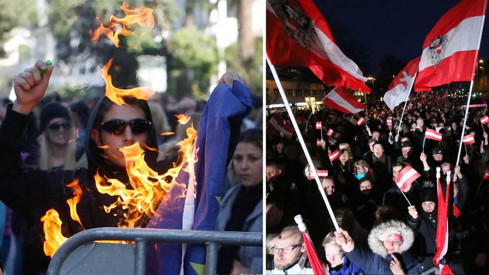 EU-kritiska demonstrationer i Cypern och Österrike.