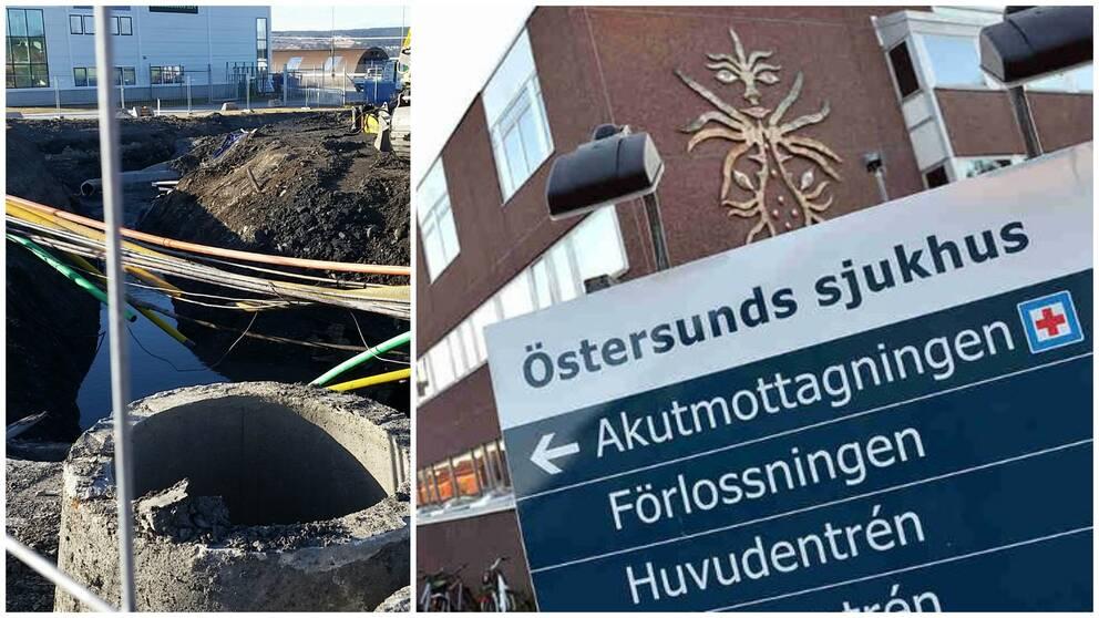 Sjukhuset har utlöst katastrofläge på grund av den avgrävna vattenledningen i Östersund.