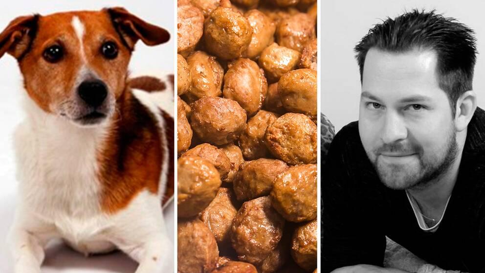 Hunden Felix och husse Alexander.