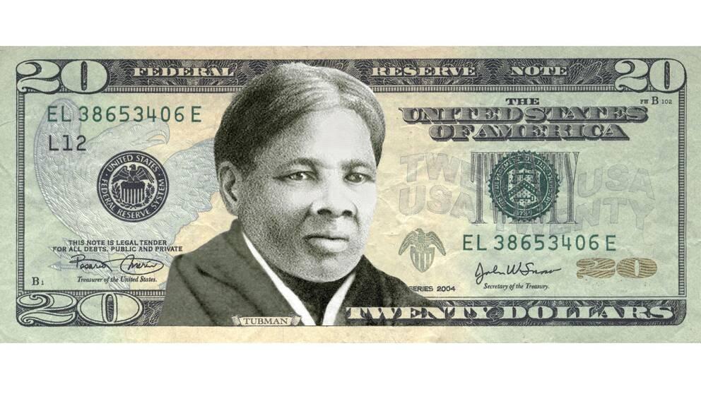 """Organisationen """"Women On 20's"""" förslag på hur sedeln med Harriet Tubman skulle kunna se ut."""