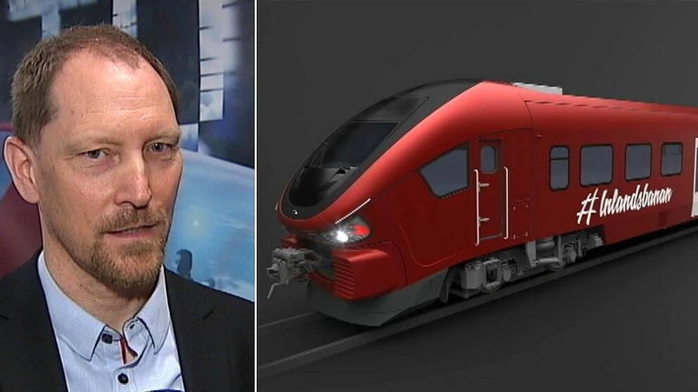 Inlandsbanans vd Peter Ekholm och den nya motorvagnen