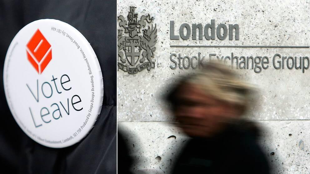 En knapp som stöder Brexit och en fasadbild på Londonbörsen.