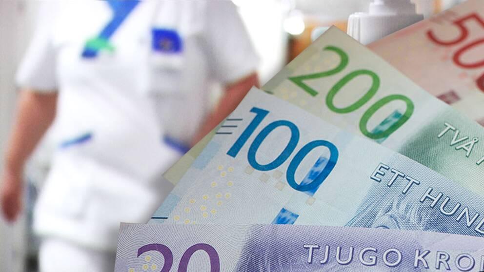 Sjuksköterska i bakgrunden och nya svenska sedlar i förgrunden.