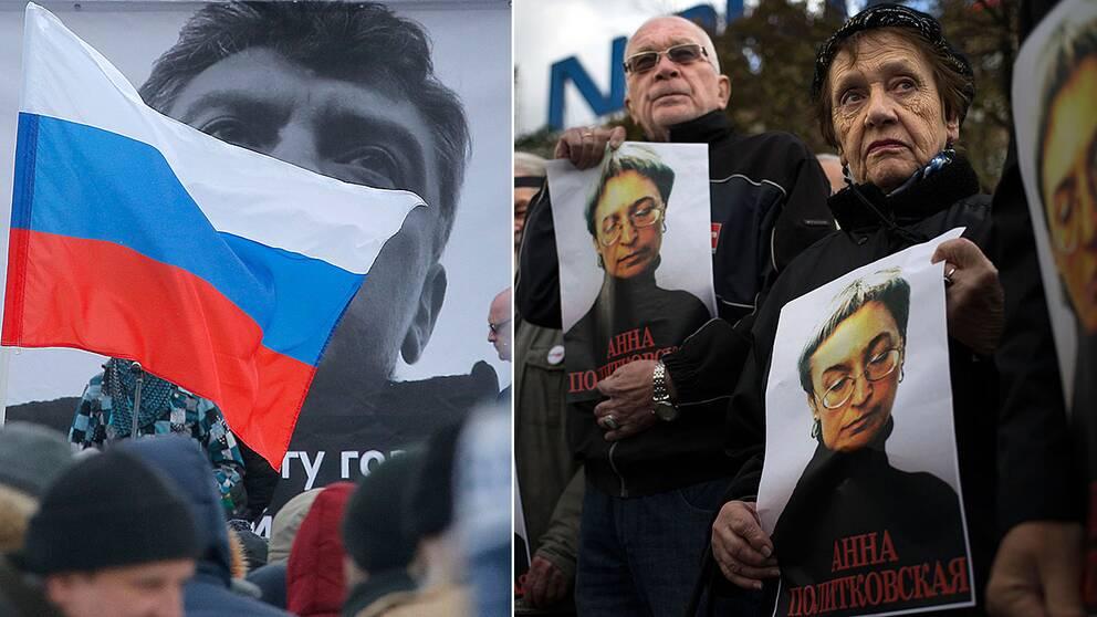Manifestation för dödade politikern, Boris Nemtsov och för dödade journalisten Anna Politkovskaja.