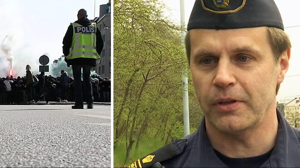 En banger smällde till bakom Anders Jönsson när han var på väg in i polisbussen.