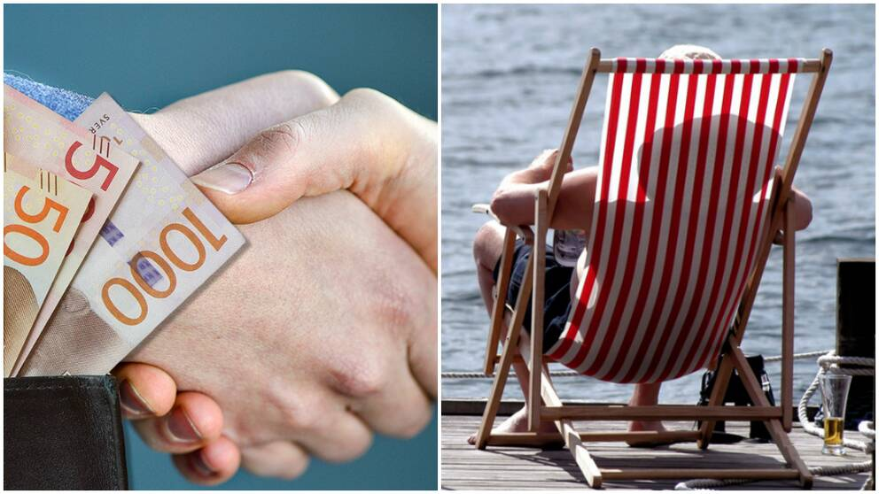 Handskakning, pengar och man i solstol.