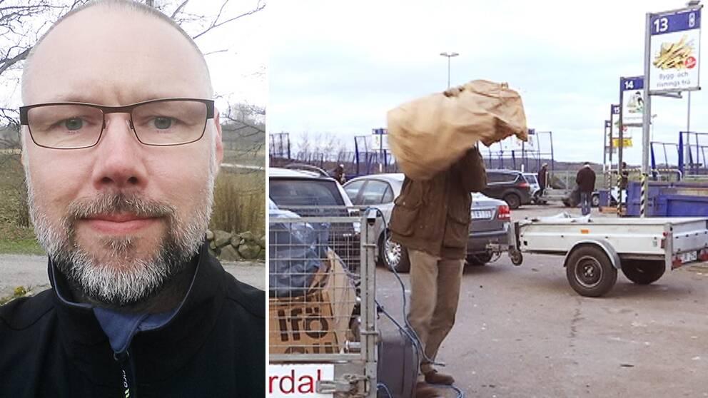 Patrik Gustavsson sommargäst i Halmstad. Återvinningscentralen i Flygstaden i Halmstad.
