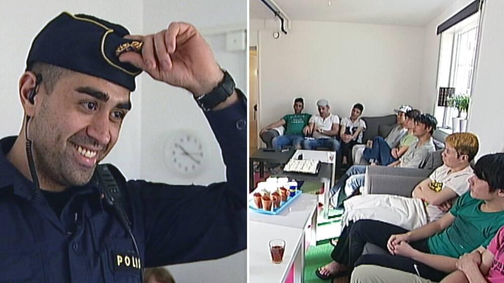 Polisen Mustafa Panshiri åker runt och pratar med ungdomar.