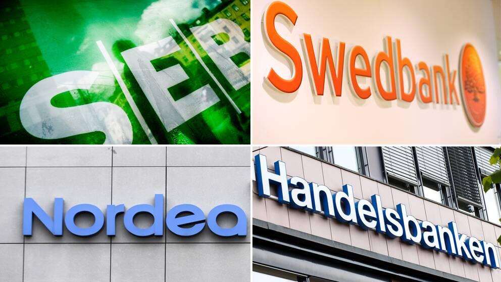 Fyra svenska storbanker.