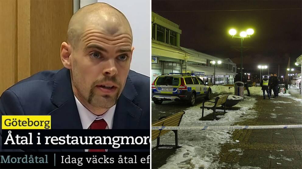 kammaråklagare Niklas Högdén och mordplatsen i Biskopsgården.