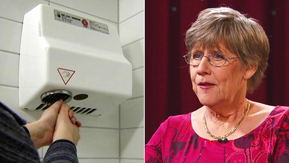 Handtorken är helt värdelös som hjälpmedel för att torka händerna när det kommer till att försöka begräna spridningen av virusbakterier, menar Agnes Wold.