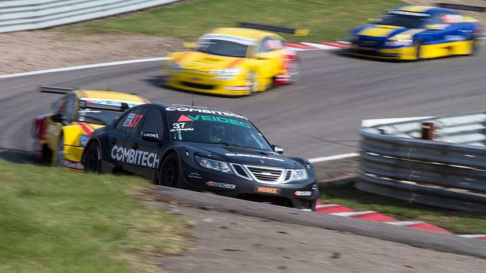 2013-05-04 Första deltävlingen i STCC, Daniel Haglöf, Saab 9-3, heat 2.