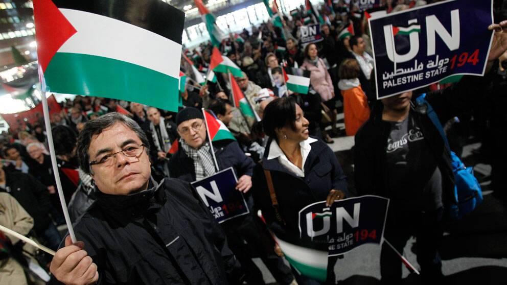 Många har kämpat för att Palestina ska få plats i FN. Här en manifestation i Stockholm 2011.