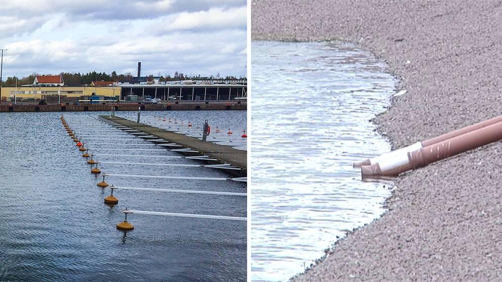 Vy över Oskarshamns hamn och rör vid den plats där muddermassorna ska förvaras.