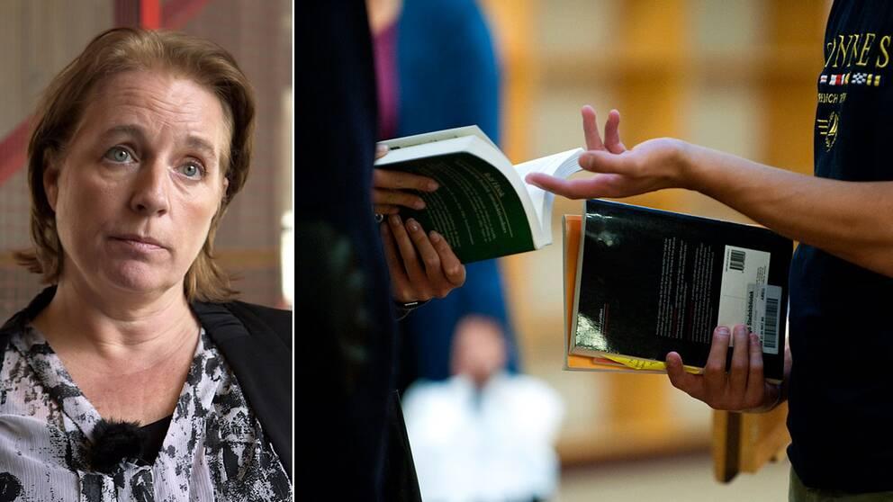 Åsa Nandorf, Karolinska institutet, och en anonym bild på två studenter.