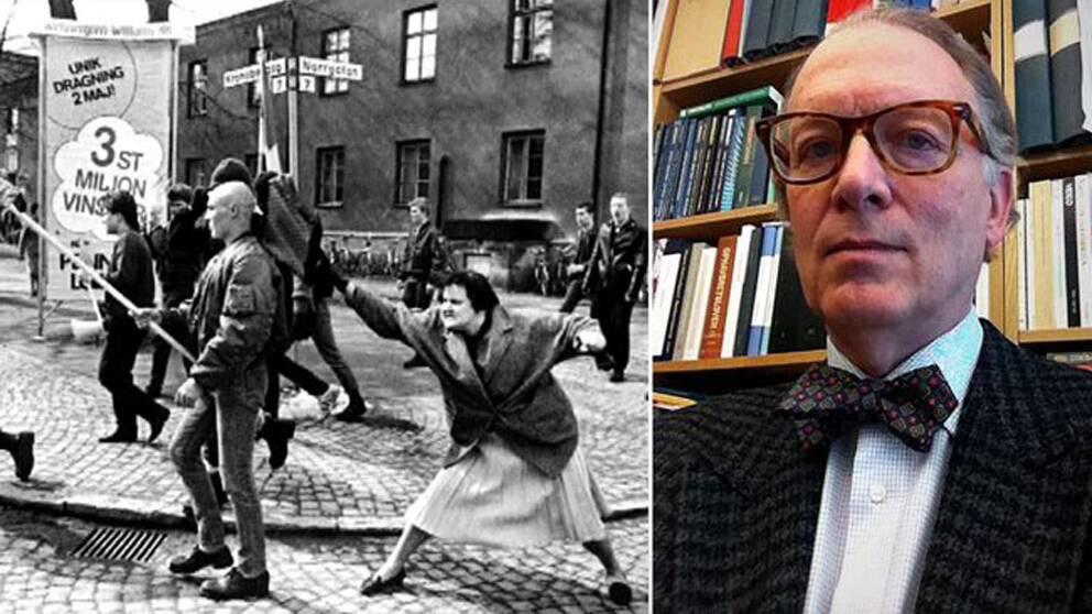 """Hans Runessons tog den klassiska bilden """"Kvinnan med handväskan"""" från Växjö 1985"""