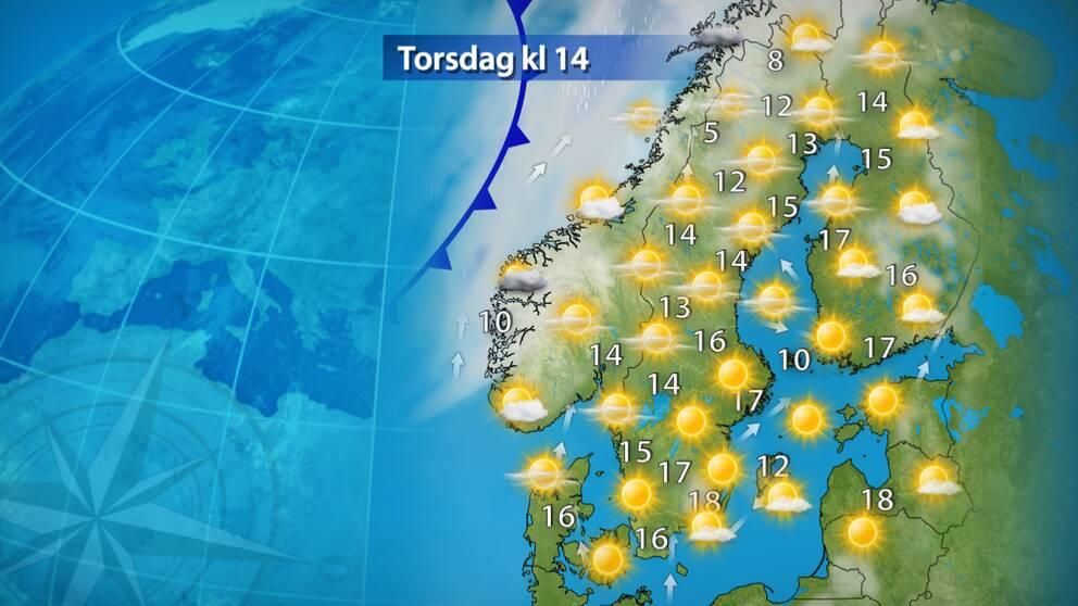 Torsdag: Högtrycket förstärks. Över södra Sverige väntas mycket sol och på någon plats kanske 20 grader. Upp över norra Norrland blir det mer moln men i stort sett upphehåll även i fjällen.
