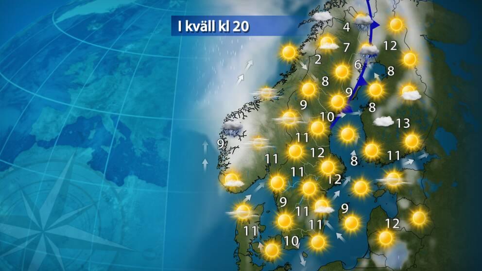 I kväll: Uppehåll. Till kvällen har det mesta av regnet i norr dragit bort österut och det blir en klar och fin kväll i hela landet. Till natten sjunker temperaturerna återigen och det finns risk för frost en bra bit ner i Svealands och Götalands inland.