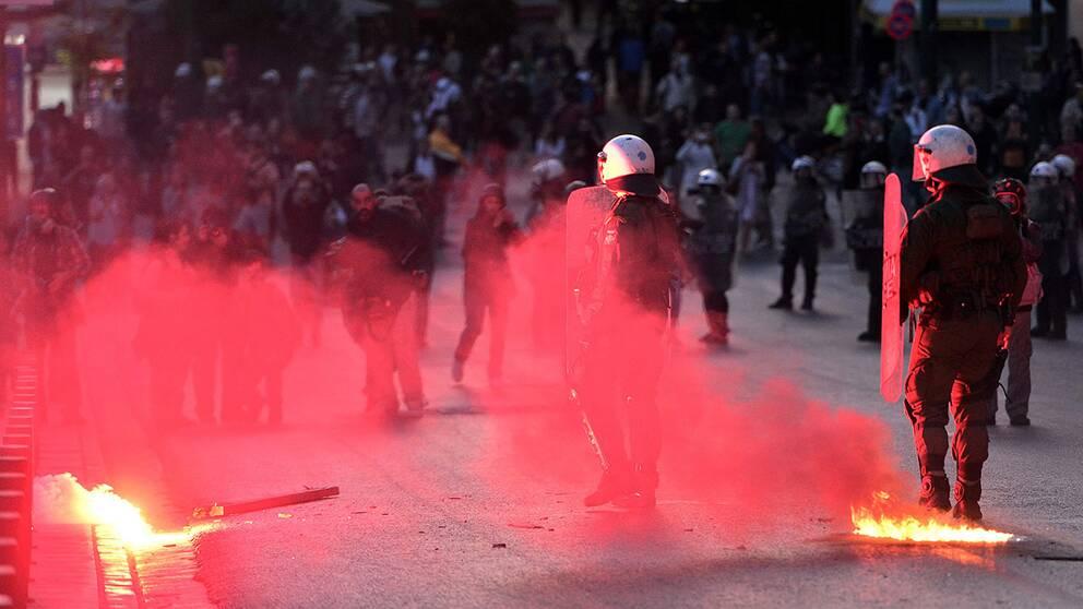 Protester i Grekland.