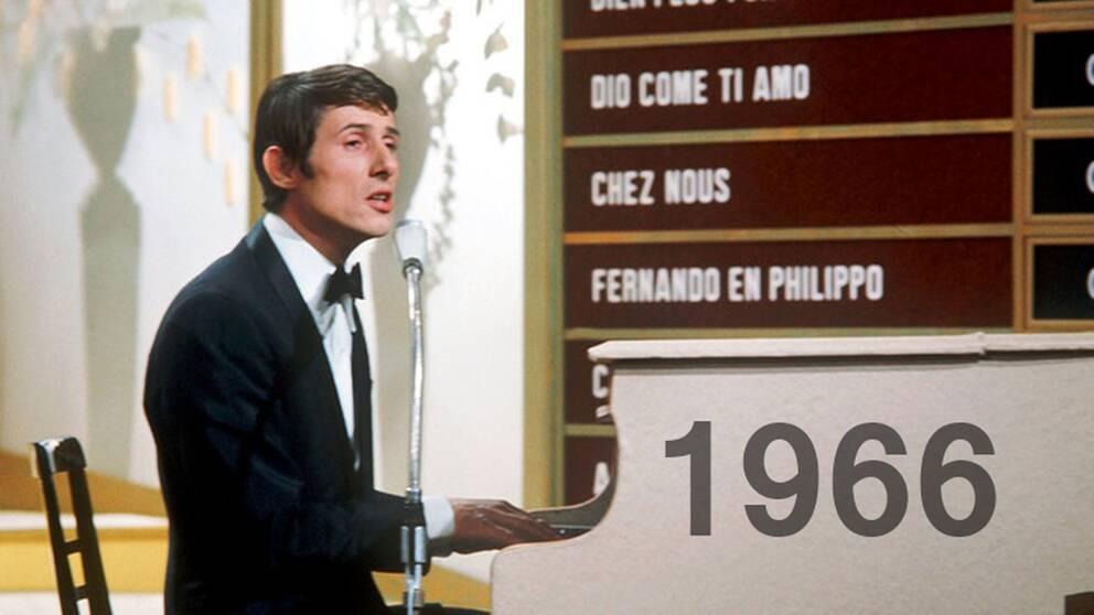"Udo Jürgens vann tävlingen 1966 med bidraget ""Merci Chérie""."