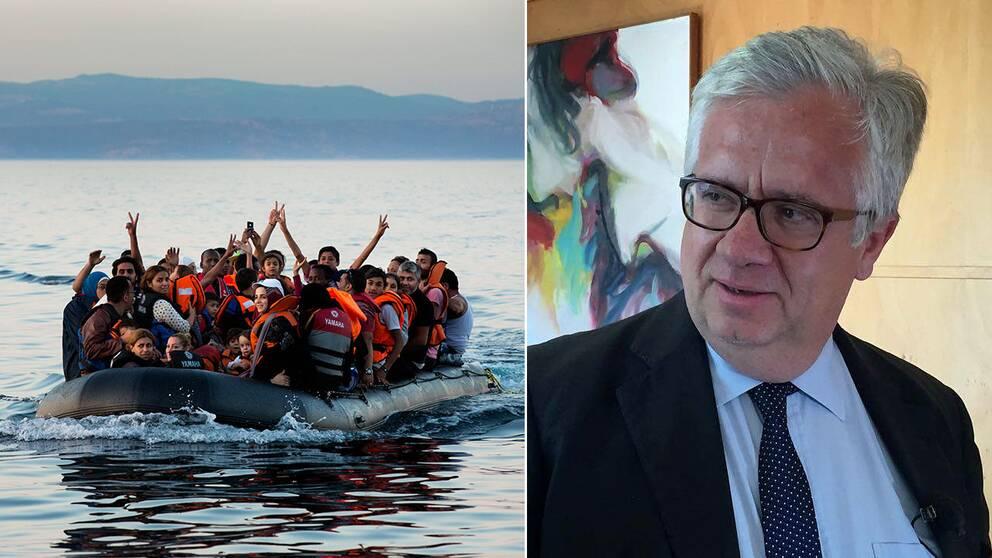 Flyktingar som anländer till grekiska Lesbos och Portugals migrationsminister som gärna ser att fler flyktingar kommer till landet.