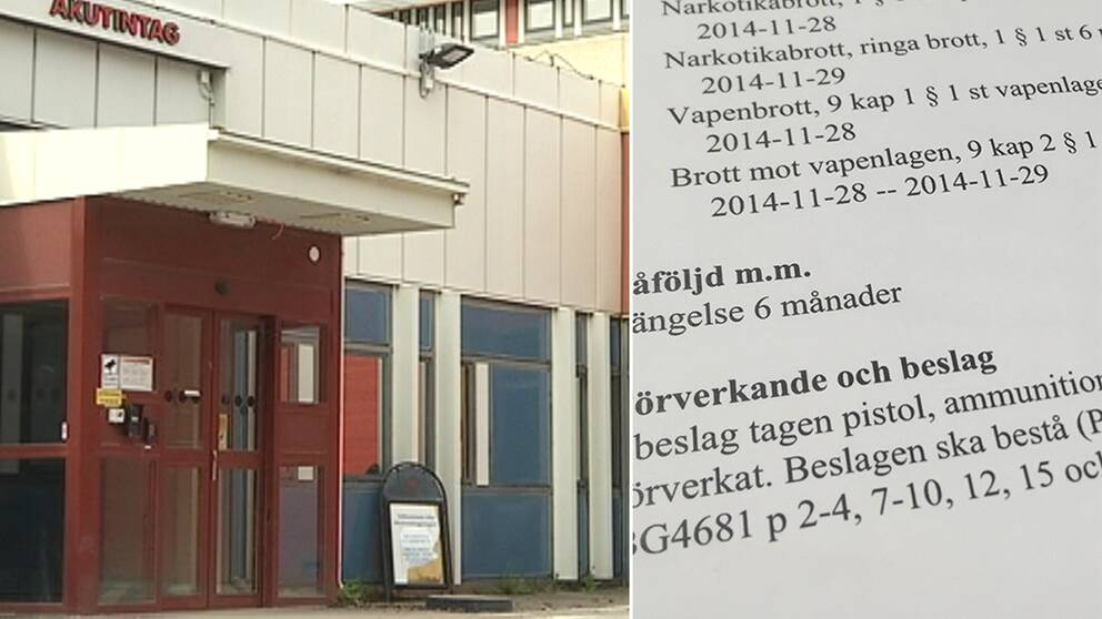 Montage. Bild till vänster: entrén till akutmottagningen i Eskilstuna. Bild till höger: bild på tingsrättsdom.