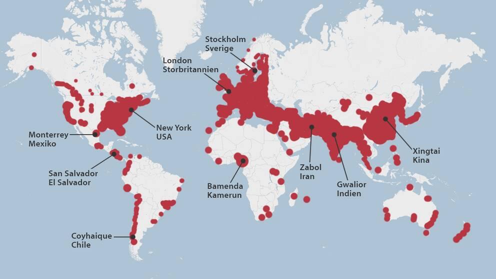 WHO:s karta över luftföroreningar