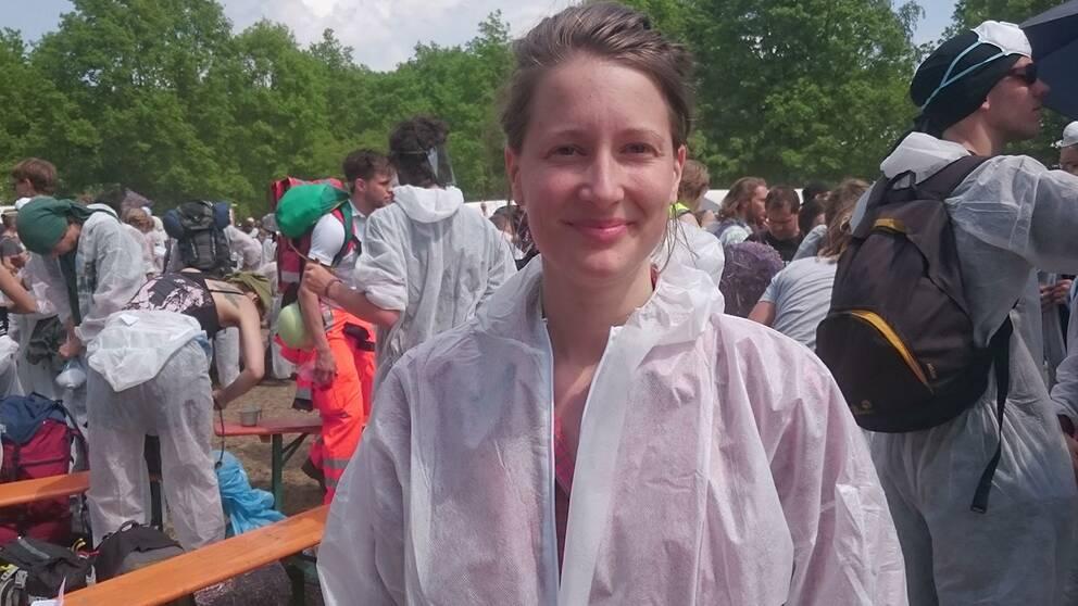 Julia Norman, samordnare för de svenska deltagarna vid aktionerna mot Vattenfalls brunkolsbrytning.