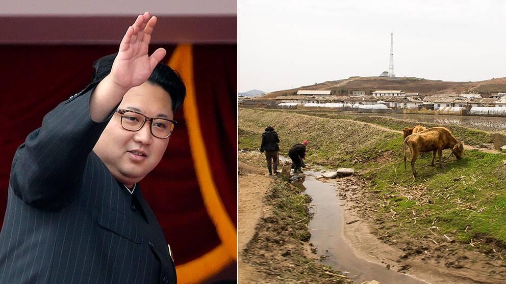 Nordkoreas ledare Kim Jong Un och nordkoreaner på landsbygden som står på en förstörd åker.