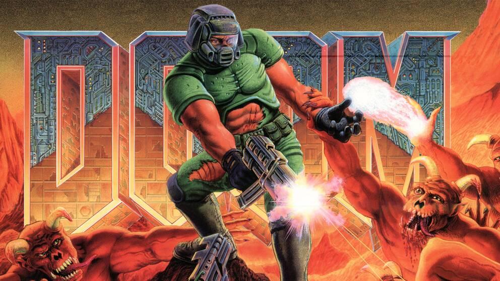 Omslaget till det ursprungliga Doom (1993).