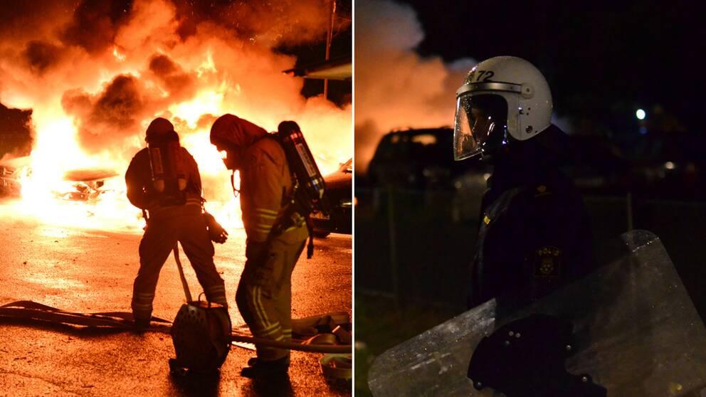 räddningtjänsten släcker bilar och kravallpolis vaktar